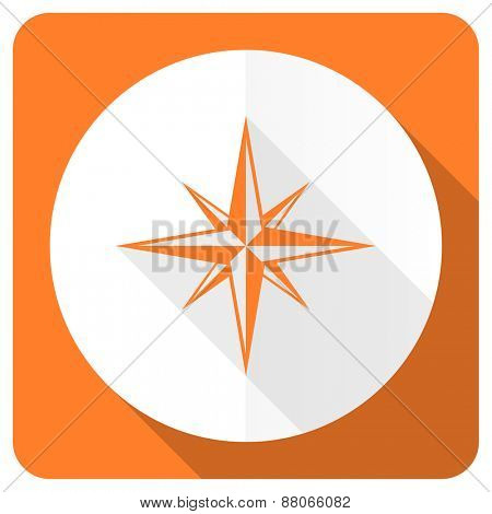 compass orange flat icon
