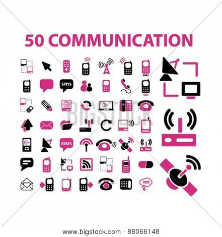 communication, connection, phone, network, internet isolated icons, signs, symbols, illustrations web design template concept set on white background for website, application