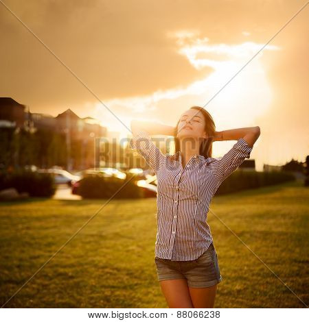 Dreamy Woman Enjoying Life. Relaxation Concept.