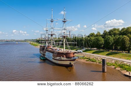 Old Sailing Ship On River Volhov In Summer Day
