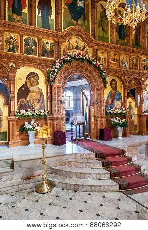 Interior Church Of The Resurrection In The Holy Resurrection Monastery. It Was Founded In 1992