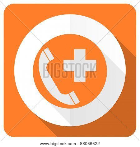 emergency call orange flat icon