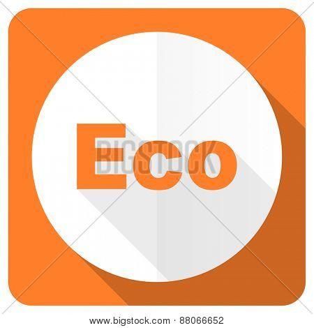 eco orange flat icon ecological sign