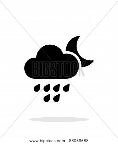 Light rain at night weather simple icon on white background.