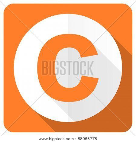 copyright orange flat icon