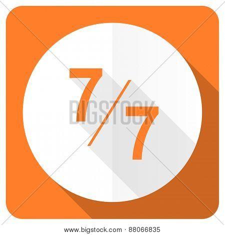 7 per 7 orange flat icon