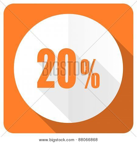20 percent orange flat icon sale sign