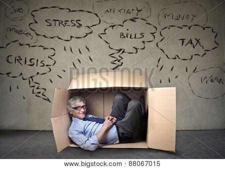 Employee hiding in the box
