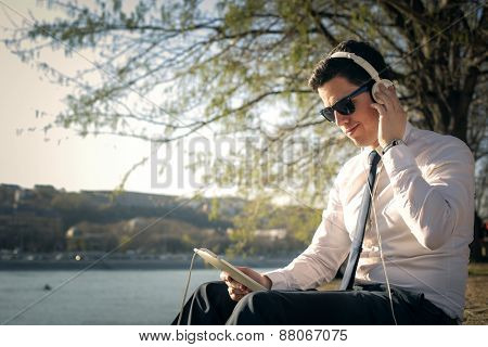 Manager listening to music