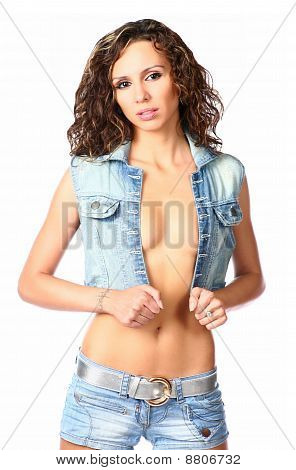 sexy brunette in jeans wear