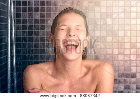 Happy Bare Young Woman Taking Shower