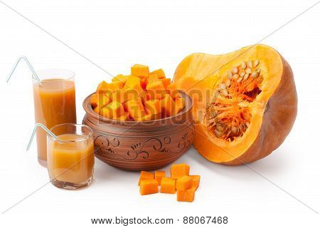 Chunks Of Pumpkin And Pumpkin Juice