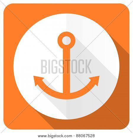 anchor orange flat icon sail sign
