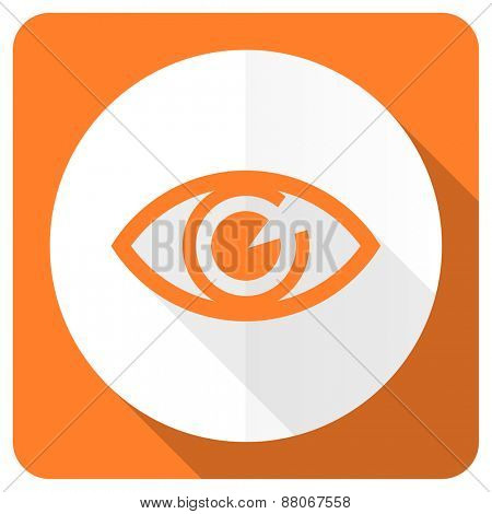 eye orange flat icon view sign