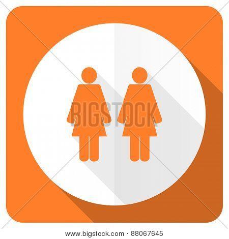 couple orange flat icon people sign team symbol