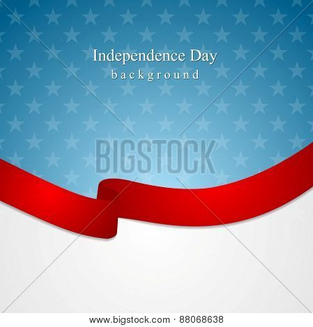 Corporate bright abstract background with ribbon. USA colors vector design