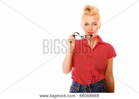 Beautiful Girl Retro Hairstyle Holds Glasses Isolated