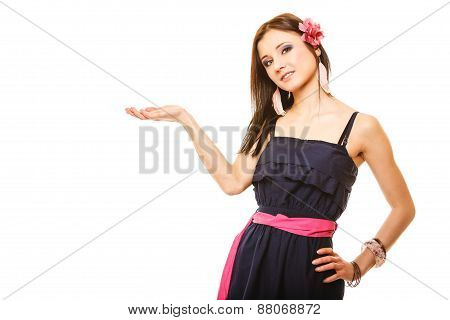 Portrait Of Beautiful Girl In Summer Style Open Palm