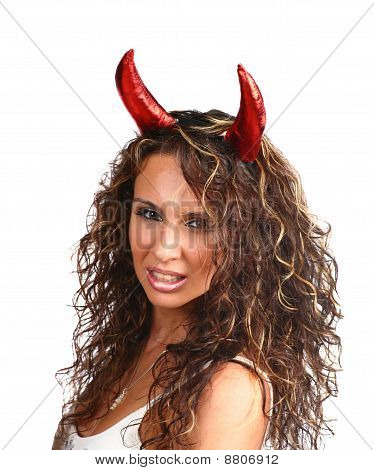 sexy brunette with horns