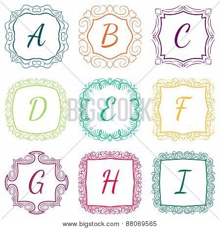 Set of monograms hand drawn style colorful with frames