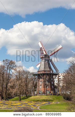 Historic Windmill In Bremen