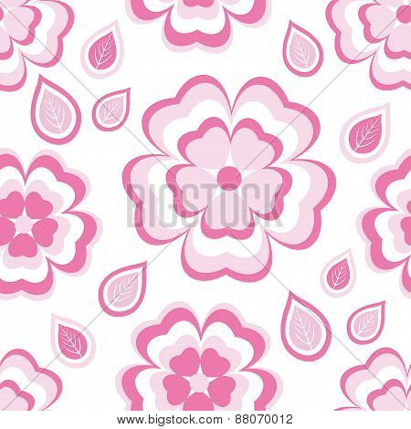 Seamless Pattern With Pink Flowers Sakura And Leaves