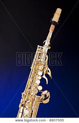 Soprano Saxophone Isolated On Blue