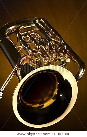 Tuba Euphonium Isolated On Gold