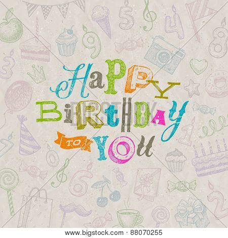 Vector illustration - Hand drawn Happy Birthday greeting card