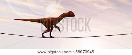 Concept or conceptual abstract business metaphor as wild heavy dinosaurus balancing on rope over sunset sky background banner