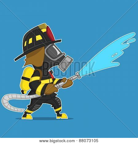 firefighter sprays water