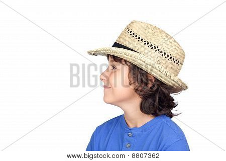 Funny Child With Straw Hat