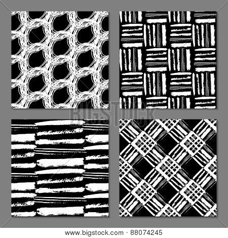 Set of 4 monochrome freehand patterns