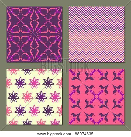 Set of 4 colorful patterns