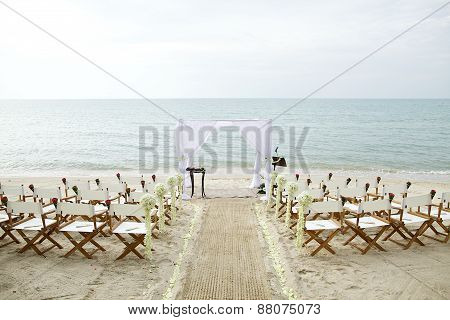 White Theme Beach Wedding Setup Poster