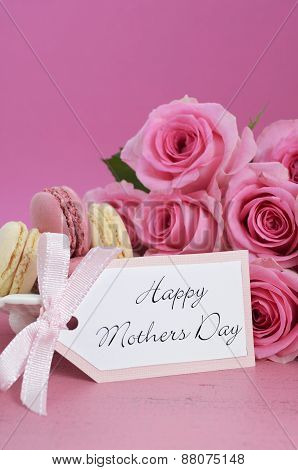 Happy Mothers Day Pink Roses And Macarons.