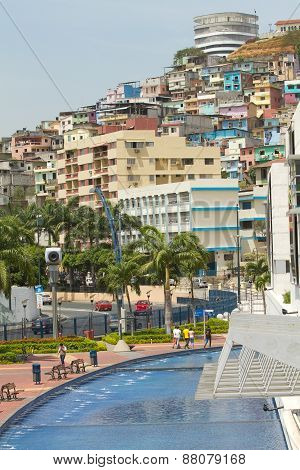 View of Cerro Santa Ana, city landmark in Guayaquil