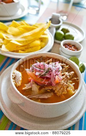 Encebollado, fish stew, typical ecuadorian dish.