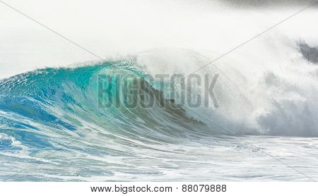 big wave breaking at shore - summer background