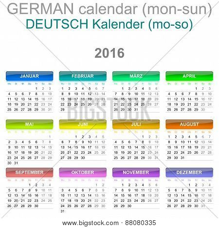 2016 Calendar German Language Version Mon - Sun