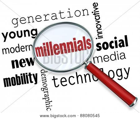 Millennials word under a magnifying glass to illustrate searching for young people in the new demographic that is tech savvy, young, modern, innovative and into social media