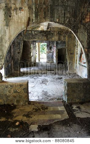 Interior Of Abandoned French-colonial Villa In Kep, Cambodia