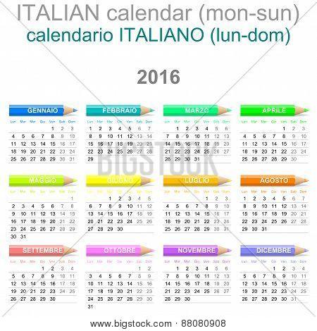 2016 Crayons Calendar Italian Version
