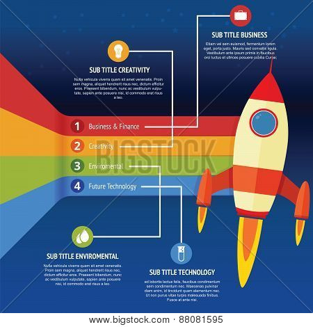 Business infographic rocket