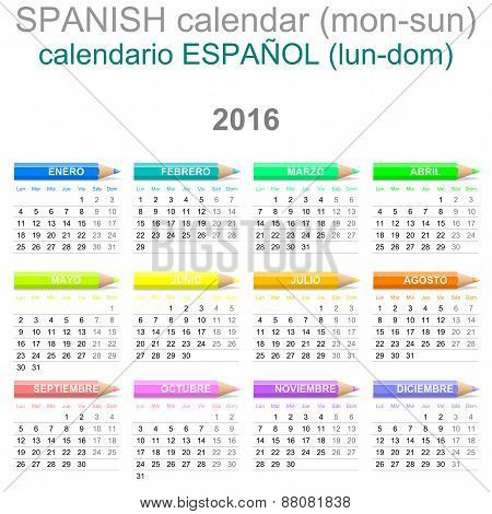 2016 Crayons Calendar Spanish Version
