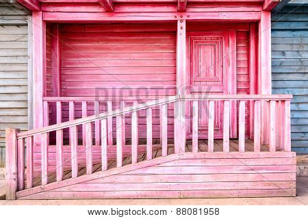 Old Color Wooden Balcony With Door