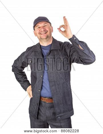 Worker with ok sign.