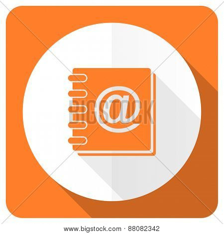 address book orange flat icon