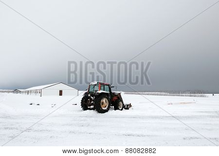 View of Icelandic countryside and farmlands during winter