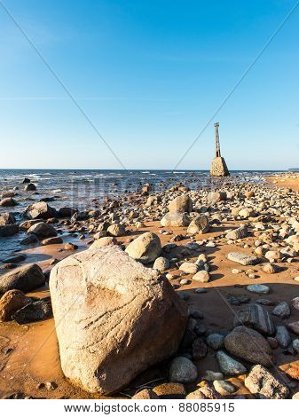 Old Ruins Of Lighthouse On The Shore